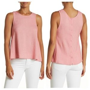 ELODIE Button Back Tank Sleeveless Blouse Coral